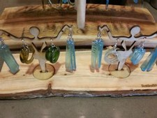 Glass Earrings Bottles and Wood Image